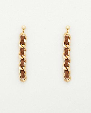 Faux Suede & Metal Stiletto Earrings
