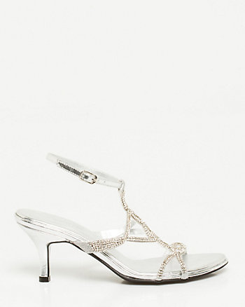 Metallic Leather-Like T-Strap Sandal