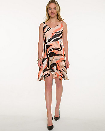 Zebra Print Chiffon V-Neck Dress