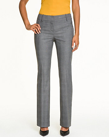 Glen Check Viscose Blend Slight Flare Pant