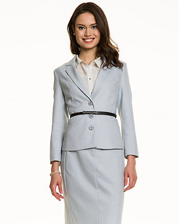 Crosshatch Notch Collar Belted Blazer