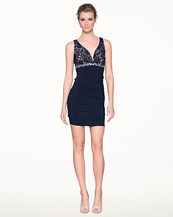 Lace & Knit V-Neck Cocktail Dress