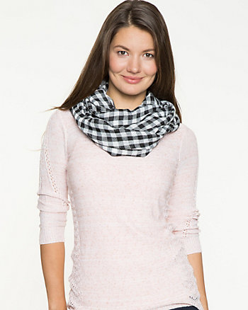 Gingham Check Voile Infinity Scarf