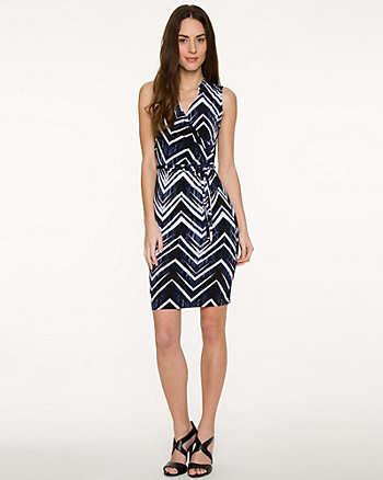 Chevron Knit Faux-Wrap Dress