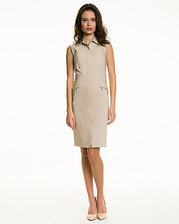 Stretch Woven Sleeveless Shirtdress