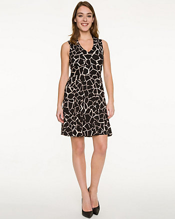 Giraffe Print Knit V-Neck Dress