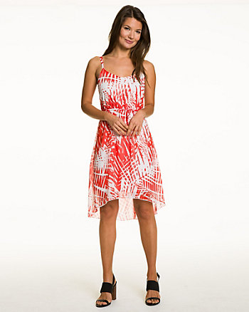 Palm Print Chiffon Scoop Neck Dress