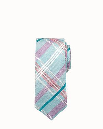 Check Print Silk & Linen Tie