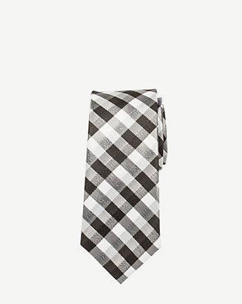 Check Print Silk Skinny Tie