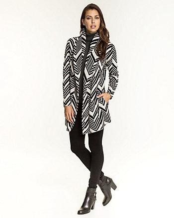 Chevron Wool Blend Hooded Cardigan