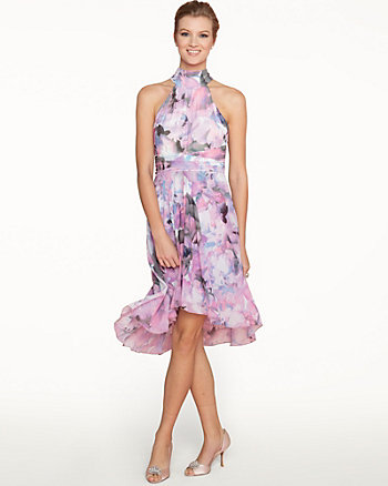 Floral Chiffon High-Low Dress