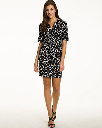 Giraffe Print Sateen Shirt Dress