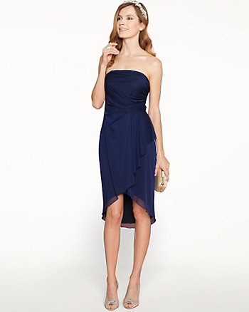 Sheer Overlay Strapless Cocktail Dress