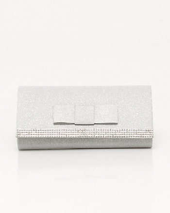 Metallic Jewel Embellished Flapover Clutch