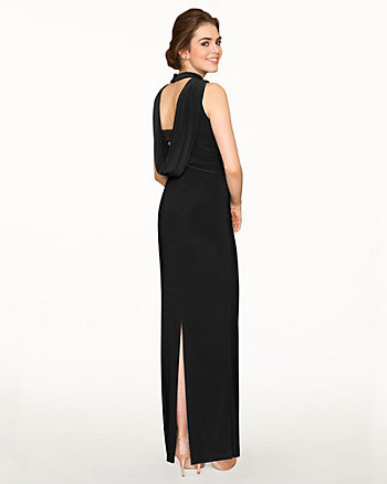 Knit Mock Neck Sleeveless Gown