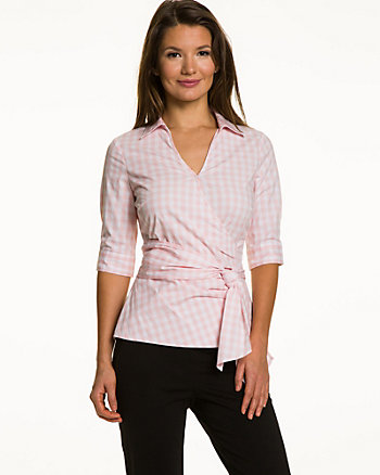 Gingham Poplin Faux Wrap Blouse