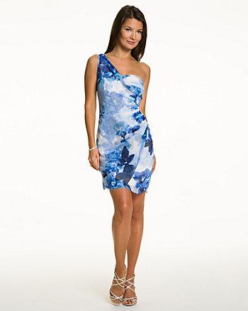 Floral Chiffon One Shoulder Dress