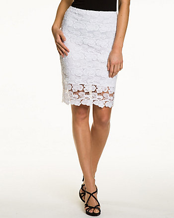 Lace Textured Pencil Skirt