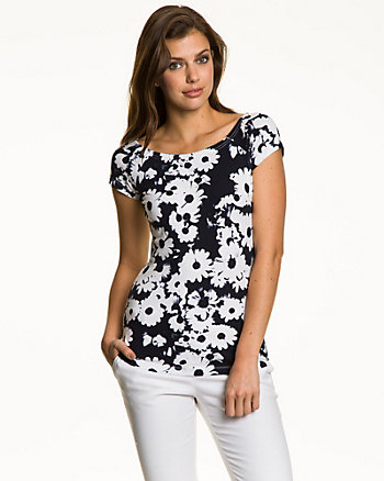 Floral Stretch Cotton Off-the-Shoulder Top