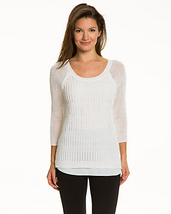 Open-Stitch Knit Sweater