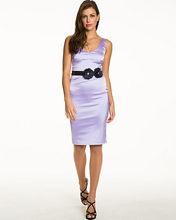 Matte Satin V-Neck Dress