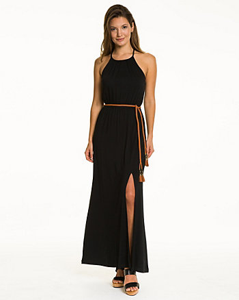 Jersey Halter Neck Belted Maxi Dress