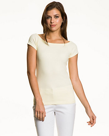 Stretch Cotton Off-the-Shoulder Top