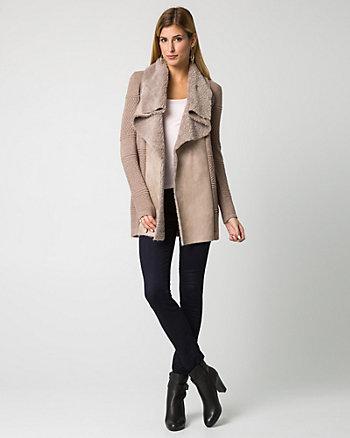 Faux Sherpa & Viscose Blend Sweater Coat