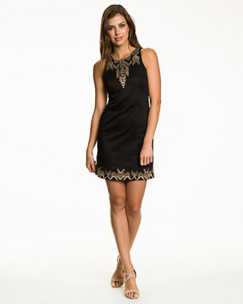 Embroidered Cotton Sateen Dress