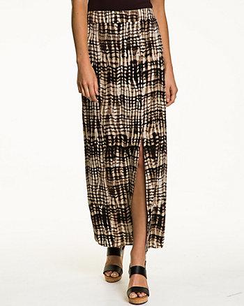 Tribal Print Challis Side Slit Skirt