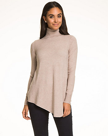 Viscose Blend Asymmetrical Turtleneck