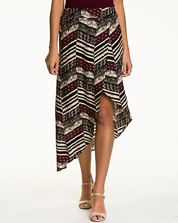 Tribal Print Challis Asymmetrical Skirt