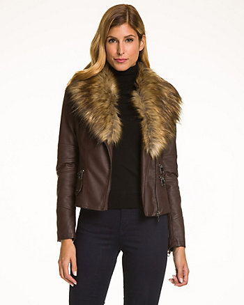 Leather-Like Jacket with Faux Fur Trim