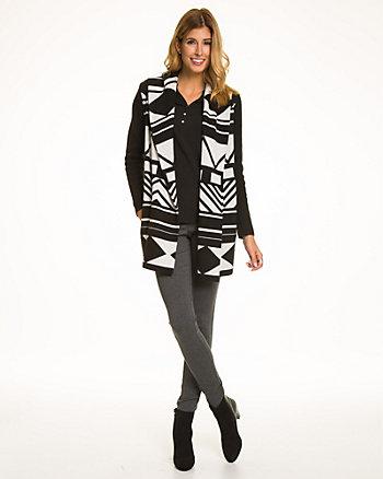 Aztec Print Wool Blend Sweater Coat