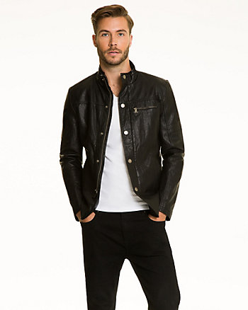 Faux Leather Zip-Front Jacket