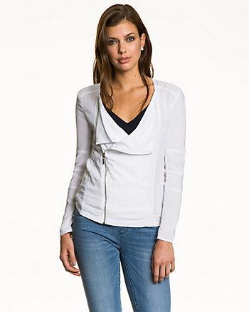 Viscose Asymmetrical Zip Blazer