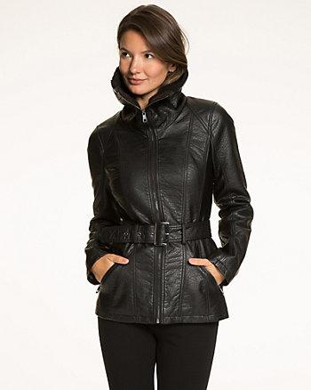 Faux Leather Zip Front Jacket