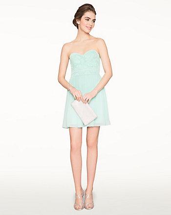Chiffon & Lace Sweetheart Cocktail Dress
