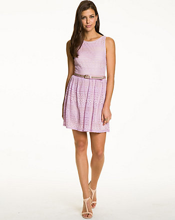 Cotton & Lace Belted Cocktail Dress