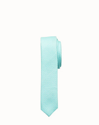 Textured Cotton Blend Skinny Tie