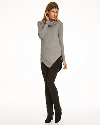Colour Block Viscose Blend Tunic Sweater