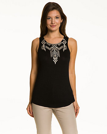 Jersey Embroidered Scoop Neck Top