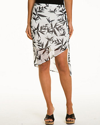 Tropical Print  Knit Asymmetrical Skirt
