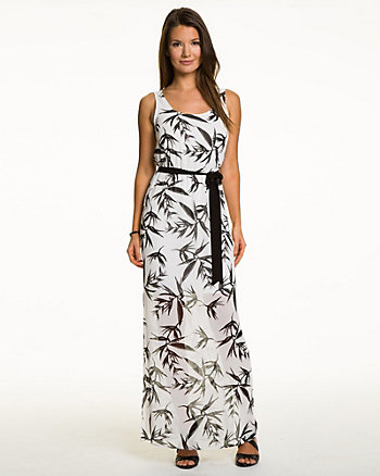 Tropical Print Chiffon Maxi Dress