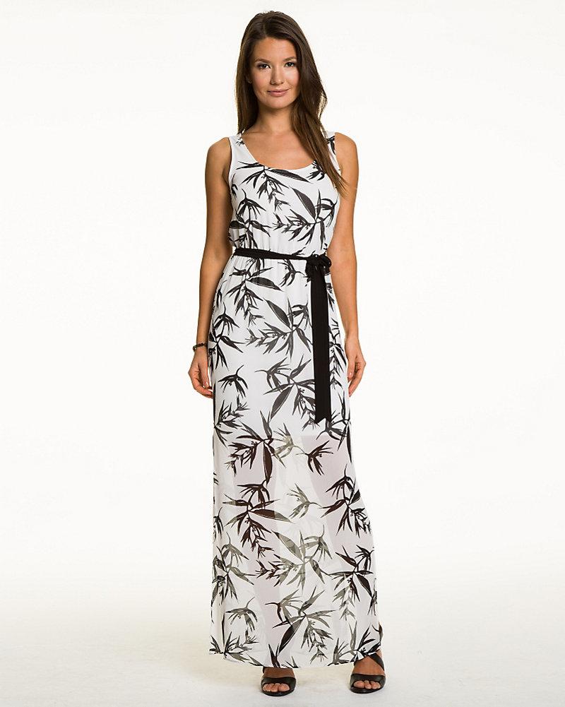 4cd5c21cb11 Tropical Print Chiffon Maxi Dress