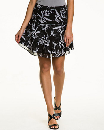 Tropical Print Chiffon Mini Skirt