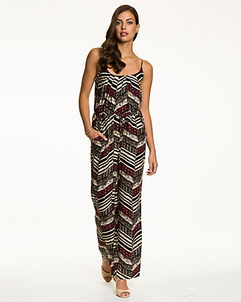 Tribal Print Challis Flared Leg Jumpsuit