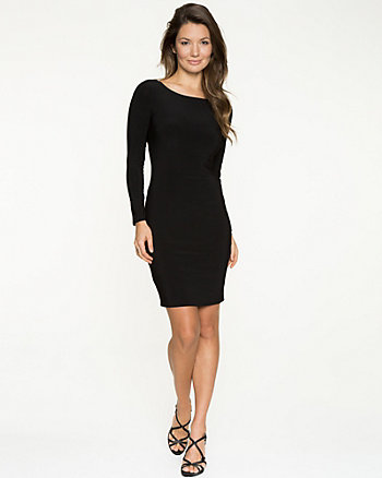 Knit Long Sleeve Open Back Dress