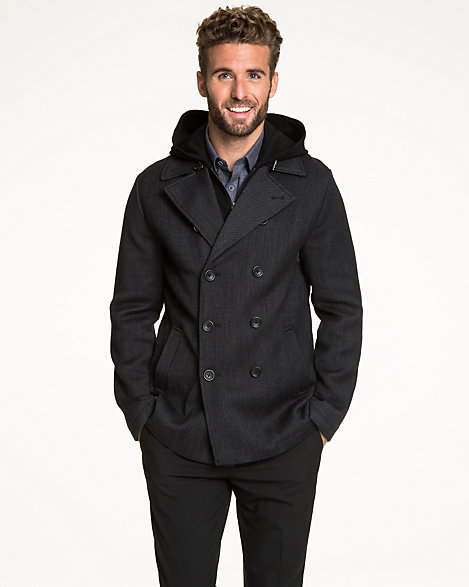 preview of buy online 2019 clearance sale LE CHÂTEAU: Textured Wool Double Breasted Peacoat