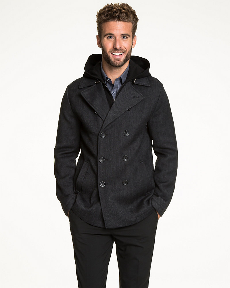 50c431ae558e Textured Wool Double Breasted Peacoat